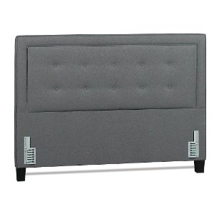 ... Heather Gray Classic Contemporary Upholstered Queen Size Headboard    Soraya Collection