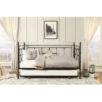 Black Classic Contemporary Metal Daybed with Trundle - Alexis