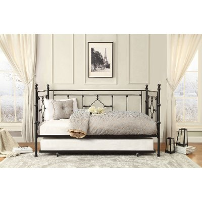 Black Classic Contemporary Metal Daybed with Trundle Alexis RC