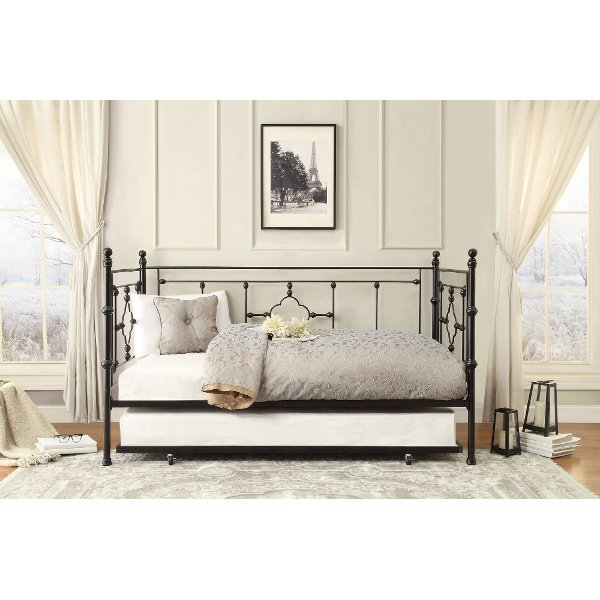 ... Black Classic Contemporary Metal Daybed With Trundle   Alexis