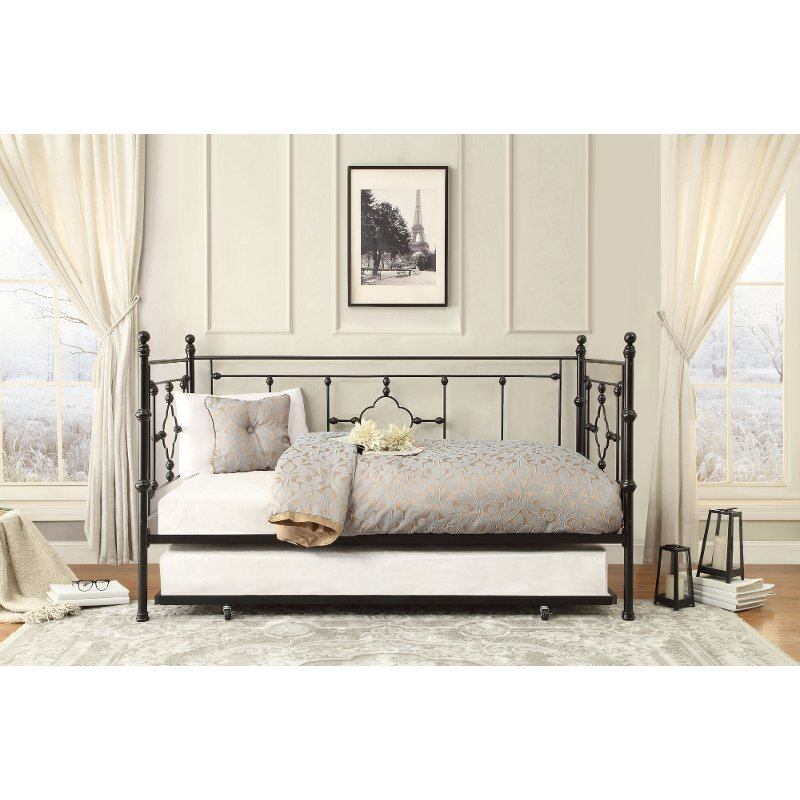 Modernistisk Black Classic Contemporary Metal Daybed with Trundle - Alexis | RC UG58