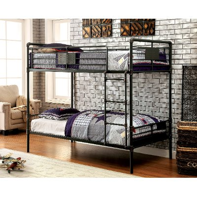 Black Metal Casual Industrial Twin Over Bunk Bed
