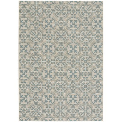 5 x 8 Medium Spa Blue Indoor-Outdoor Rug - Finesse Tile | RC ...
