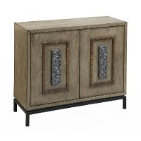 Burnished Driftwood 2 Door Cabinet with Iron Base