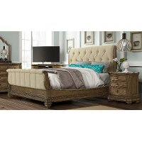 Clearance Pecan Upholstered Queen Sleigh Bed - Touraine