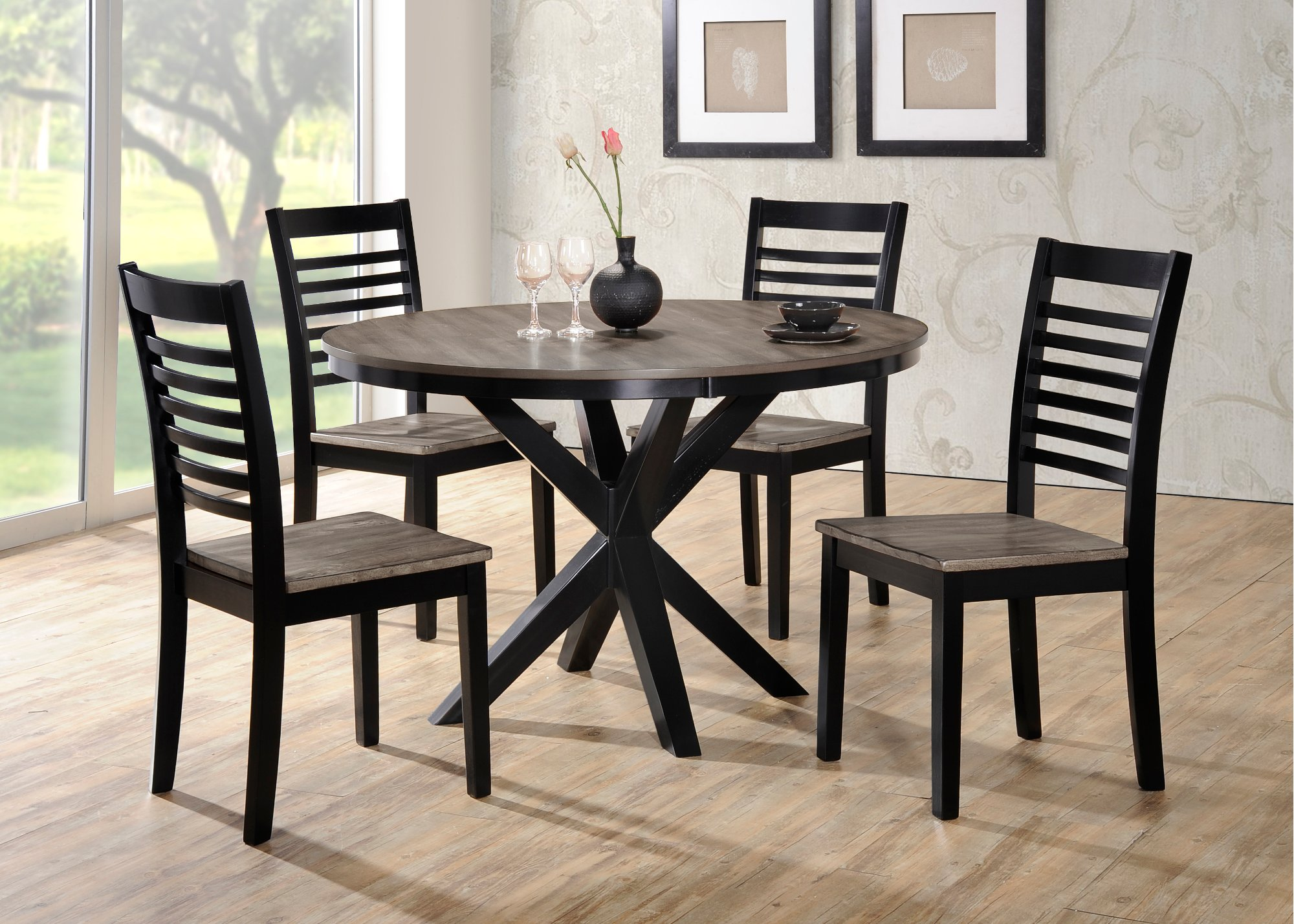 Ebony and Gray Contemporary 5-Piece Round Dining Set ...
