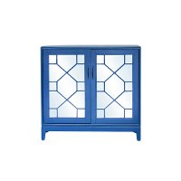 Electric Blue Low Cabinet with Mirrored Doors - Indochine