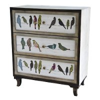 Painted 3 Drawer Bird on a Wire Chest