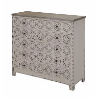Linen 4 Drawer Chest with Nail-head Trim