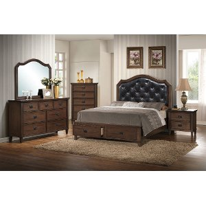 brown classic 6 piece king bedroom set park city - King Size Bed Frame For Sale