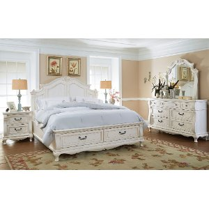 6pc 637 Chateau6 6 Clearance White Traditional 6 Piece King Bedroom Set