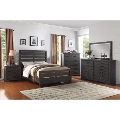 Dark Gray Casual Contemporary 6 Piece Queen Bedroom Set ...