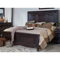 120/PANELBED5/0 Cabernet Black Traditional Queen Size Bed - Meritage