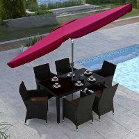 Wine Red Tilting Patio Umbrella