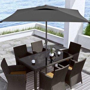 ... CorLiving Black Square Patio Umbrella ...
