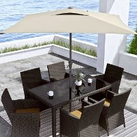 Warm White Square Patio Umbrella