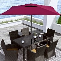 Wine Red Square Patio Umbrella