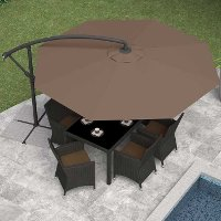 Sandy Brown Offset Patio Umbrella