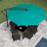 Turquoise Blue Offset Patio Umbrella