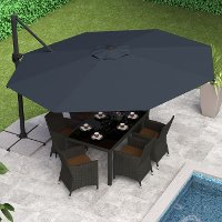 Black Deluxe Offset Patio Umbrella