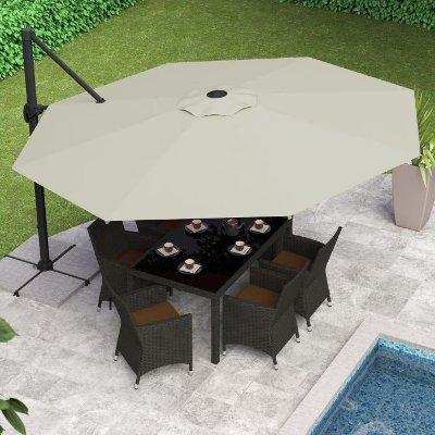 Warm White Deluxe Offset Patio Umbrella