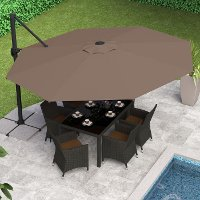 Sandy Brown Deluxe Offset Patio Umbrella