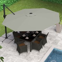 Sandy Gray Deluxe Offset Patio Umbrella