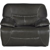 Steel Gray Leather-Match Power Glider Recliner - Max