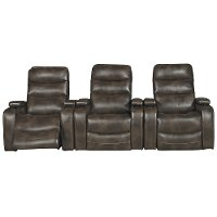 Coffee Brown 3 Piece Power Home Theater Seating - Nicholas