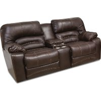 Chocolate Brown Leather-Match Power Reclining Loveseat - Legacy
