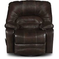 Brown Leather-Match Swivel Rocker Recliner - Legacy