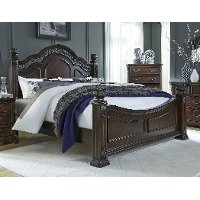 Cognac Brown Traditional Queen Size Bed - Messina