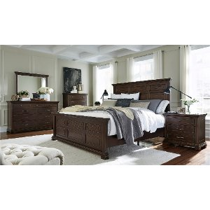 ... Clearance Brown Ale Classic Traditional 6 Piece Queen Bedroom Set    Weston