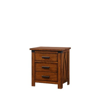 Barley Brown Rustic Contemporary Nightstand - Logan