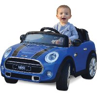 Blue Mini Cooper Ride in Car