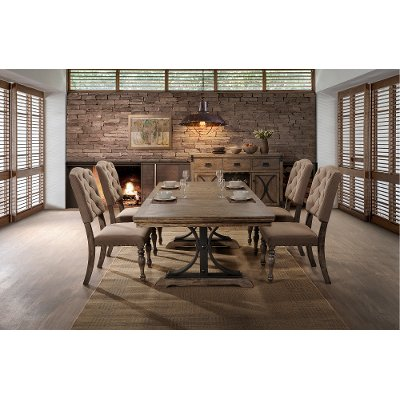 5PC:HM4280,8005/DIN Driftwood 5 Piece Dining Set With Tufted Chairs