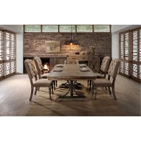 5PC:HM4280,8005/DIN Driftwood 5 Piece Dining Set with Tufted Chairs - Metropolitan