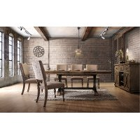 5PC:HM4280,8006/DIN Driftwood 5 Piece Dining Set with Script Chairs - Metropolitan Collection