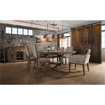 driftwood 7 piece dining set with script chairs