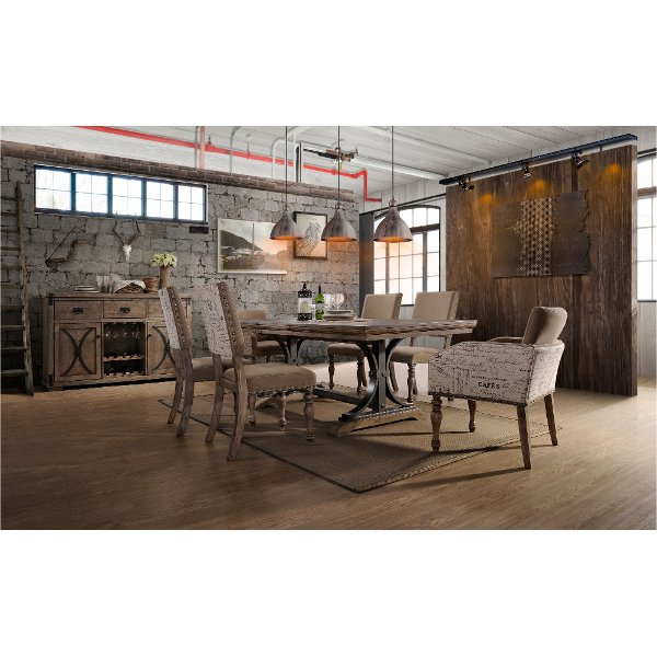 ... 7PC:HM4280,8006/DIN Driftwood 7 Piece Dining Set With Script Chairs ...