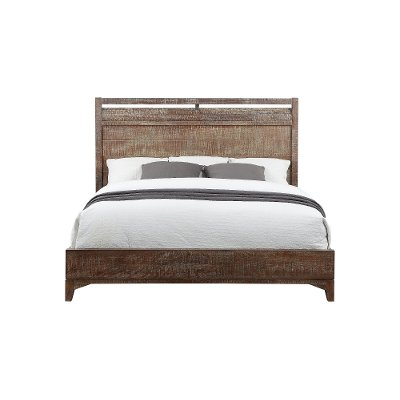 Cocoa Brown Rustic Contemporary Queen Size Bed   Bohemian