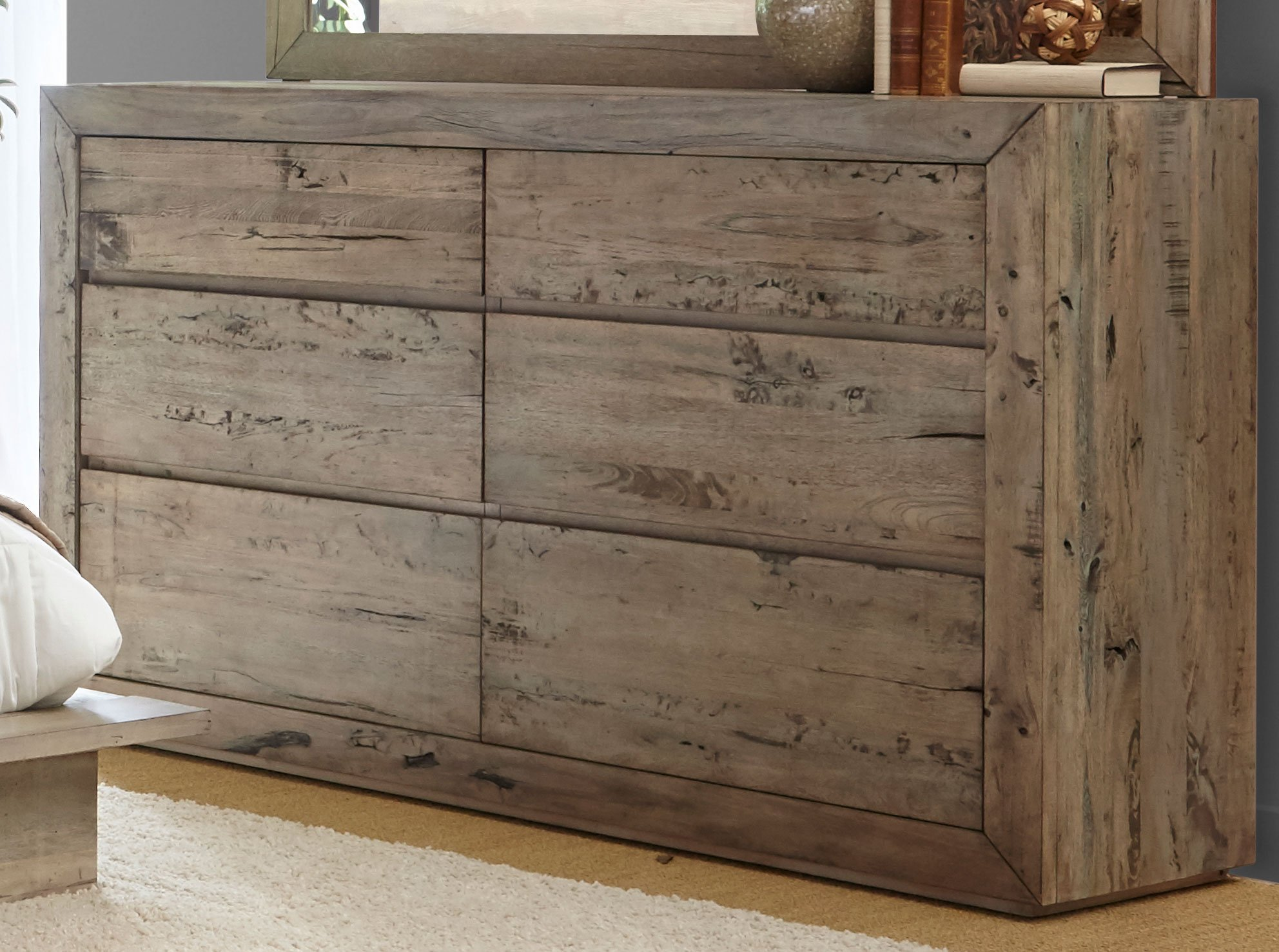 White-Washed Modern Rustic 6 Piece King Bedroom Set