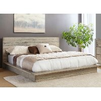 Modern Rustic Whitewash Queen Platform Bed - Renewal