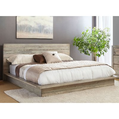 WhiteWashed Modern Rustic Queen Platform Bed Renewal RC