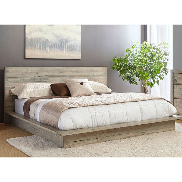 ... White Washed Modern Rustic Queen Platform Bed   Renewal