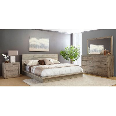 White Washed Modern Rustic 6 Piece Queen Bedroom Set   Renewal