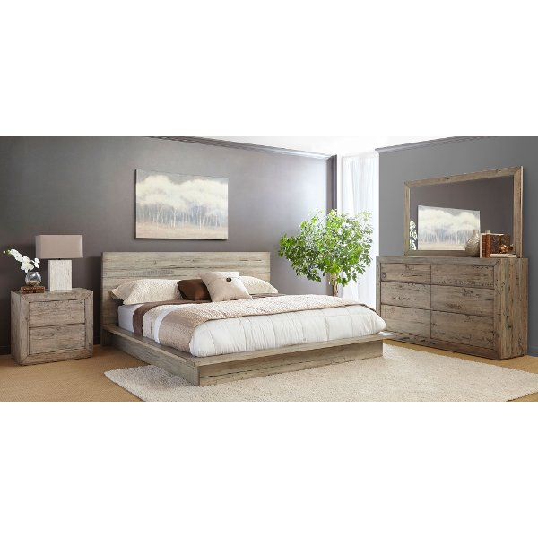 ... White Washed Modern Rustic 4 Piece California King Bed Bedroom Set    Renewal