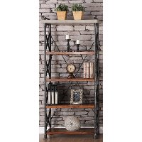 36 Inch Contemporary Bookcase - Steampunk