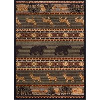 NTR6588 4x6 4 x 6 Small Green Lodge Area Rug - Nature