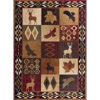 NTR6590 4x6 4 x 6 Small Red Lodge Area Rug - Nature